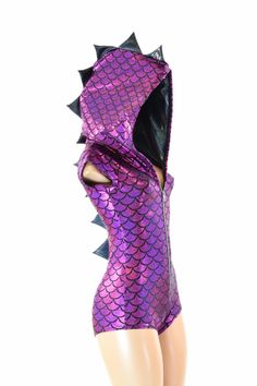 Fuchsia Dragon Scale Holographic ZIpper Front Cap Sleeve Hoodie Romper with Black Mystique Spikes & Hood Lining