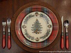 Williams-Sonoma Dinner Plates and Spode Christmas Garland Salad Plates