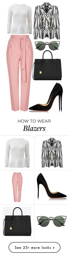 """Untitled #3012"" by kingof21stfashion on Polyvore featuring mode, Oscar de la Renta, Topshop, Balmain, Yves Saint Laurent et Christian Louboutin"