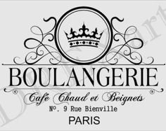 BOULANGERIE This is a HORIZONTAL placement stencil. ☆ Stencil size, 12 x 18 (design slightly smaller) ☆ Precision laser cut stencils using clear French Country Rug, French Decor, French Country Decorating, French Bakery, French Cafe, French Vintage, Vintage Images, French Patisserie, Collages D'images