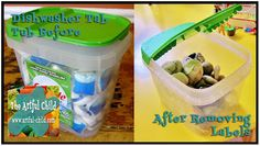 Re-purposed Dishwasher Tub to hold rocks from The Artful Child