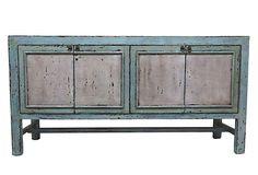 Grace 4-Door Tall Sideboard, Blue on OneKingsLane.com