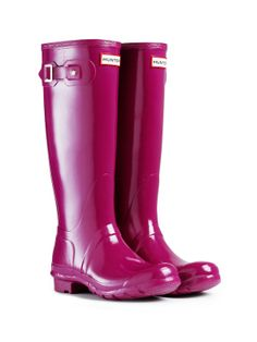 Something about this weather makes me want rain boots... $140. Gloss Rain Boots | Original Tall Gloss | Hunter Boot US (violet color)