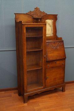 Victorian Side By Oak Desk Original Glass Mirror Adjustable Bookshelf