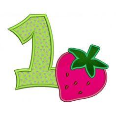 Birthday Strawberry Number 1 Applique (1st birthday) Machine Embroidery Design Pattern- Instant Download - 4x4 , 5x7, and 6x10 hoops #birthday #embroidery #applique #strawberry