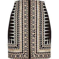 Black embroidered print mini skirt - mini skirts - skirts - women