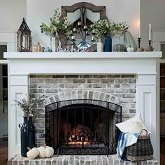 30 Interesting Fireplace Makeover For Farmhouse Home Decor. If you are looking for Fireplace Makeover For Farmhouse Home Decor, You come to the right place. Below are the Fireplace Makeover For Farmh. Brick Fireplace Makeover, Home Fireplace, Living Room With Fireplace, Fireplace Design, Fireplace Ideas, Fireplace Hearth Decor, Decorating Ideas For Fireplace, White Mantle Fireplace, Mantle Ideas