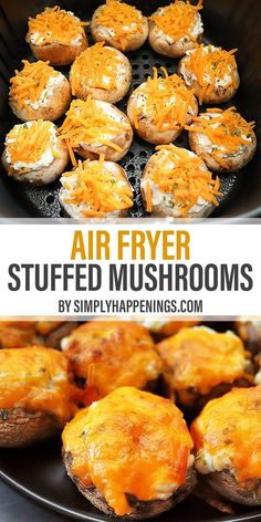 Easy air fryer stuffed mushrooms filled with cream cheese, sour cream, garlic, and topped with cheddar and chives. Great as an appetizer or a side dish! Air Fryer Oven Recipes, Air Fryer Dinner Recipes, Appetizer Recipes, Appetizers, Easy Dinner Recipes, Cooking Recipes, Healthy Recipes, Ninja Recipes, Burger Recipes