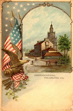 Independence Hall, Philadelphia 1776 illustration with Eagle and the American Flag
