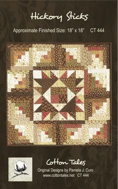 """Hickory Sticks features a center block surrounded by 4"""" log cabin blocks, which are paper pieced for accuracy. Making this little quilt is so much fun, and is a fantastic way to put a dent into your stash!"""