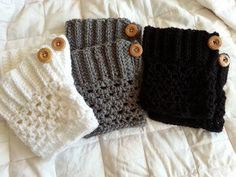 Three boot cuffs with buttons