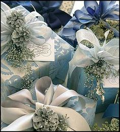 Good Life of Design: I'll Have A Blue Christmas With YOU!!! A mass of gorgeous Blue And White Gift Packages With Beautiful Sparkling Trims await A Blue And WhitebChristmas!!!