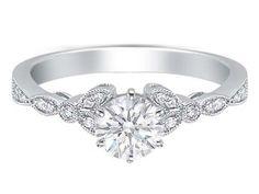 Floral Vintage Diamond Engagement Ring - ES269