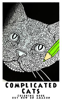 American Wirehair - Image from Complicated Cats - A Fiddly Feline Coloring Book - Illustrated by Antony Briggs out now on Amazon. UK link:http://amzn.to/1O1rkDc USA link:http://amzn.to/1ooAMf8