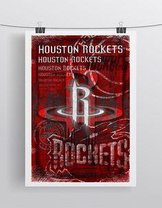 Houston Rockets Poster, Houston Rockets Print, Rockets Gift, Houston Man Cave Art