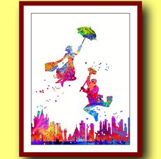 Mary Poppins Poster Watercolor Poster Watercolor by MarinaIdea