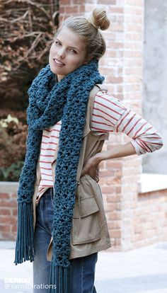 Crossing Paths Crochet Super Scarf - Patterns | Yarnspirations