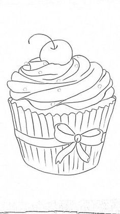 Cupcakes, sorvetes e bolos (Cupcakes, ice creams and cakes) Colouring Pages, Adult Coloring Pages, Coloring Sheets, Coloring Books, Applique Patterns, Embroidery Applique, Embroidery Designs, Tole Painting, Fabric Painting