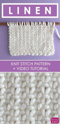 So pretty and simple. How to Knit the Linen Stitch with Free Written Pattern and Video Tutorial by Studio Knit. #StudioKnit #knittingstitches #knitstitchpattern
