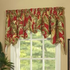 Frame your windows with the Captiva Swag Valance Set by Thomasville At Home . This vibrant valance set showcases red and green hues in a tropical leaf. Swag Curtains, Tier Curtains, Modern Curtains, Colorful Curtains, Country Curtains, Hanging Curtains, Kitchen Window Blinds, Kitchen Curtains, Kitchen Fabric