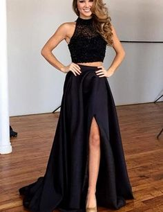 Black Long Two 2 Pieces Prom Dresses Beading Sequins 2016 High Split Prom Party Gowns vestido de festa //Price: $US $149.40 & FREE Shipping //     #fashion