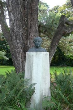 Statue of Guido Gezelle in the park, Bruges, Belgium
