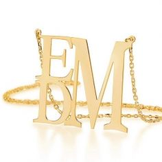 Gold Over Silver Square Monogram Necklace - now 20% OFF #sale #blackfriday #monogram