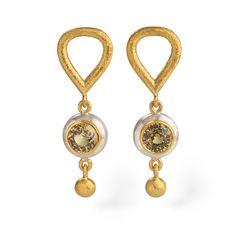 24ct #GoldandSilver #Earrings with round #YellowSapphires