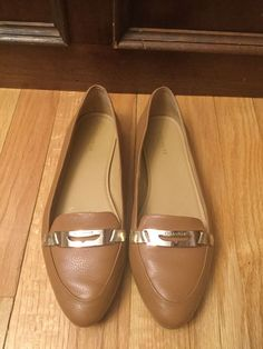 9427a2ba8 Coach Ruthie Brown Leather Flats Loafers Gold Buckle Pointed Toe 8B Shoes