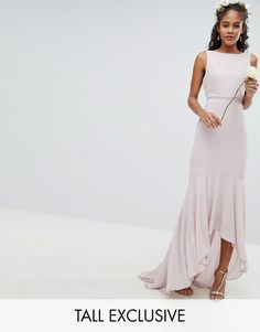 968d8ffed751 Asos TFNC Maxi Bridesmaid dress with High Low Hem Bridesmaid Flowers