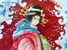 """Cookie basada en la obra de Hokusai, realizada en royal icing 3D, stencil, volumen, pintada a mano alzada, """"primavera con arte"""""""