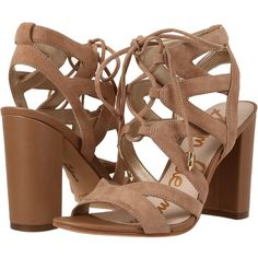 Sam Edelman Yardley (Golden Caramel Kid Suede Leather) High Heels ($130) ❤ liked on Polyvore featuring shoes, sandals, wrap sandals, block heel sandals, suede sandals, open toe high heel sandals and suede shoes
