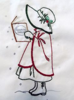 Sunbonnet Sue for December, not quite finished but I thought I'd share it anyway. Hand Embroidery Designs, Vintage Embroidery, Embroidery Applique, Cross Stitch Embroidery, Embroidery Patterns, Sue Sunbonnet, Broderie Simple, Christmas Embroidery, Embroidery Techniques