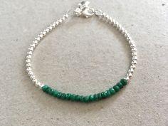 Green Emerald Gemstone Bar Bracelet, Sterling Silver Star Charm Bracelet, Emerald Jewelry  Gift, Modern Jewelry, May Birthstone  Silver Ball by MairiJewellery on Etsy