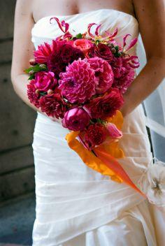 Fuchsia bouquet - peonies, garden roses, gladiosa lilies, and dahlias