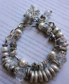 chunky bracelet, chunky chain bracelet, pearl bracelet, wedding bracelet, charm bracelet, cross bracelet, statement bracelet