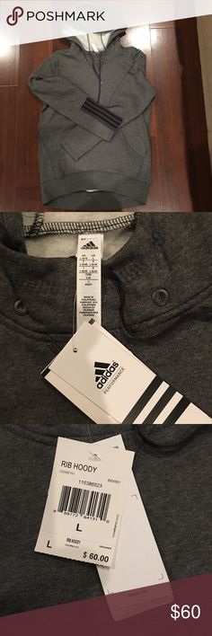 NWT! Women's Adidas Grey Rib Hoody Brand New wTags! SPEEDX RIBBED HOODIE This women's hoodie keeps muscles warm and limber before or after a workout. With street-savvy style, the sweatshirt sports 3-Stripes on the cuffs and is made in a cotton-blend fleece cut for a comfy, relaxed fit. Kangaroo pocket Drawcord on hood Ribbed hem 3-Stripes on cuffs Relaxed fit 70% cotton / 30% polyester fleece Imported Adidas Sweaters