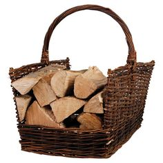 Wicker Firewood Basket admired by our rattan furniture designers. Wicker Furniture For Sale, Resin Wicker Furniture, Sunroom Furniture, Firewood Basket, Firewood Storage, Basket Tray, Clothes Basket, Storage Baskets, Basket Weaving