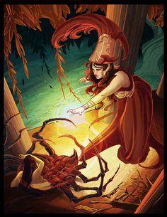 Athena and Arachne of Greek Mythology.