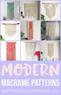 These beautiful modern macrame patterns are perfect for home decor crafters and DIY fans! Macrame is a trendy vintage revival that's making a huge comeback! via # DIY Home Decor vintage 11 Modern Macrame Patterns Modern Macrame, Macrame Art, Macrame Projects, Macrame Knots, Diy Projects, Macrame Wall Hanging Diy, How To Macrame, Macrame Wall Hangings, Macrame Supplies