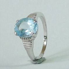 Natural Sky Blue Topaz in Rodium over Solid 925 Silver Ring Size: 925 Silver, Silver Rings, Blue Topaz, Gemstone Rings, Etsy Seller, Fine Jewelry, Sky, Engagement Rings, Gemstones