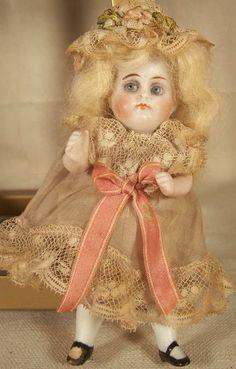 Antique Miniature 4 1 2 inch All Bisque Doll Glass Eyes 208 Old Dress Kestner | eBay