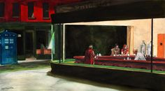 NightDocs Print- Doctor Who - Based on Hopper's Nighthawks, but with Doctor Who and his companions Amy Pond and Rory!