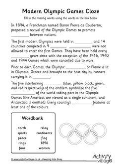 Modern Olympics cloze worksheet