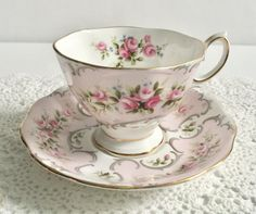 Pretty vintage china tea cup and saucer in the Camille Rose Du Barry pattern. Its made by Royal Albert in England. It is in good condition, no chips, cracks or crazing. Please Note: The items I sell are not new, they are vintage or antiques, it goes without saying that there
