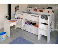 White Loft Work Amp Storage Bed Olivia Twin Size Loft
