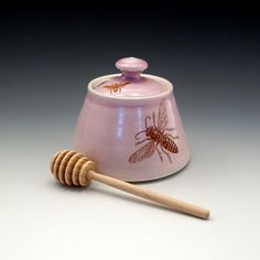 Lavender pink honey pot with bees buzzing by emilymurphy on Etsy, $50.00