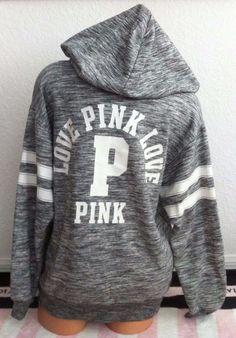 Victoria's Secret Pink Heather Gray Marl White Logo Zip Up Gym Hoodie -S *NIB #VictoriasSecretPink #Hoodie