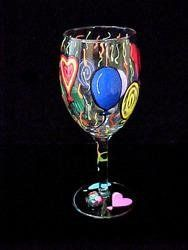 New - Birthday Balloons Design - Hand Painted - Wine Glass - 8 oz.. by BELLISSIMO! by BELLISSIMO!. $34.02. Hand Painted - Wine Glass - 8 oz. - 6.75 inches tallBouncing joyfully aloft is a brightly colored bouquet of hand painted Birthday Balloons, each bearing best wishes for someone's special day. Birthdays can't be avoided, the next best thing is to celebrate yours or a friend's by toasting the day!