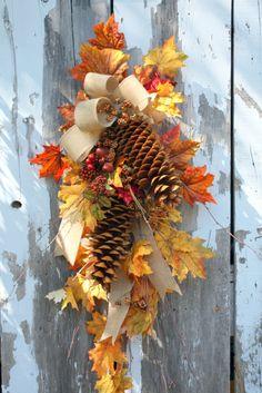 Fall Swag, Golden Leaves, Sugar Pinecones, Birch, Burlap Bow. $85.00, via Etsy.
